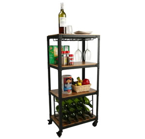 Bar Cart Wine Rack Snacks Holder Wood Metal Home Liquor Storage