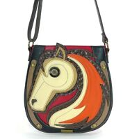 Chala Deluxe Crossbody Handbag Patterned Fabric Beautiful Color Lining Horse
