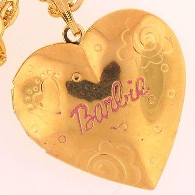 BARBIE HEART Shaped LOCKET Charm KEEPSAKE Love GOLD 7503