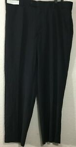 NWT-Stafford-Essential-Classic-Fit-Year-Around-Flat-Front-Mens-Black-Pant-Sz-40