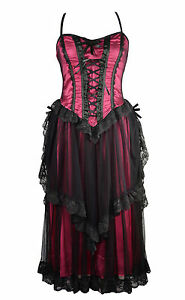 dark star black pink gothic satin lace layered netted long