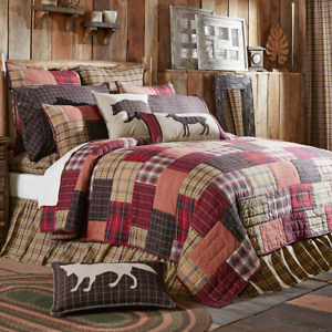 Rustic Hunting Camp Cabin Lodge Red WYATT PATCHWORK Block Quilt Bedding CHOICE