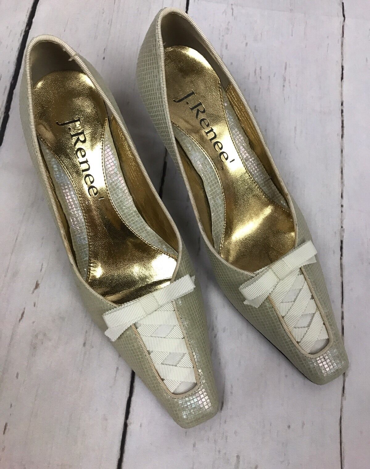 J. Renee Grün Cream POSEY Leather 6 Victorian Ribbon Square Toe Heels Größe 6 Leather 1 2 281996