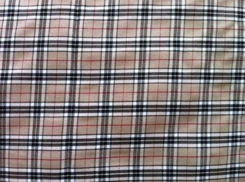 BEIGE BROWN TARTAN PATTERN CHECK FABRIC CLOTH QUALITY WOVEN PER METRE