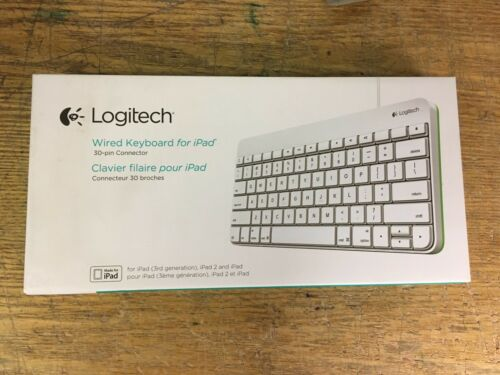 NEW SEALED Logitech 920-006340 Wired 30-Pin Keyboard for iPad