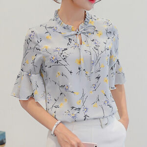Women-Girl-Chiffon-Casual-Shirts-Floral-Printing-Short-Sleeve-Blouse-Casual-Tops