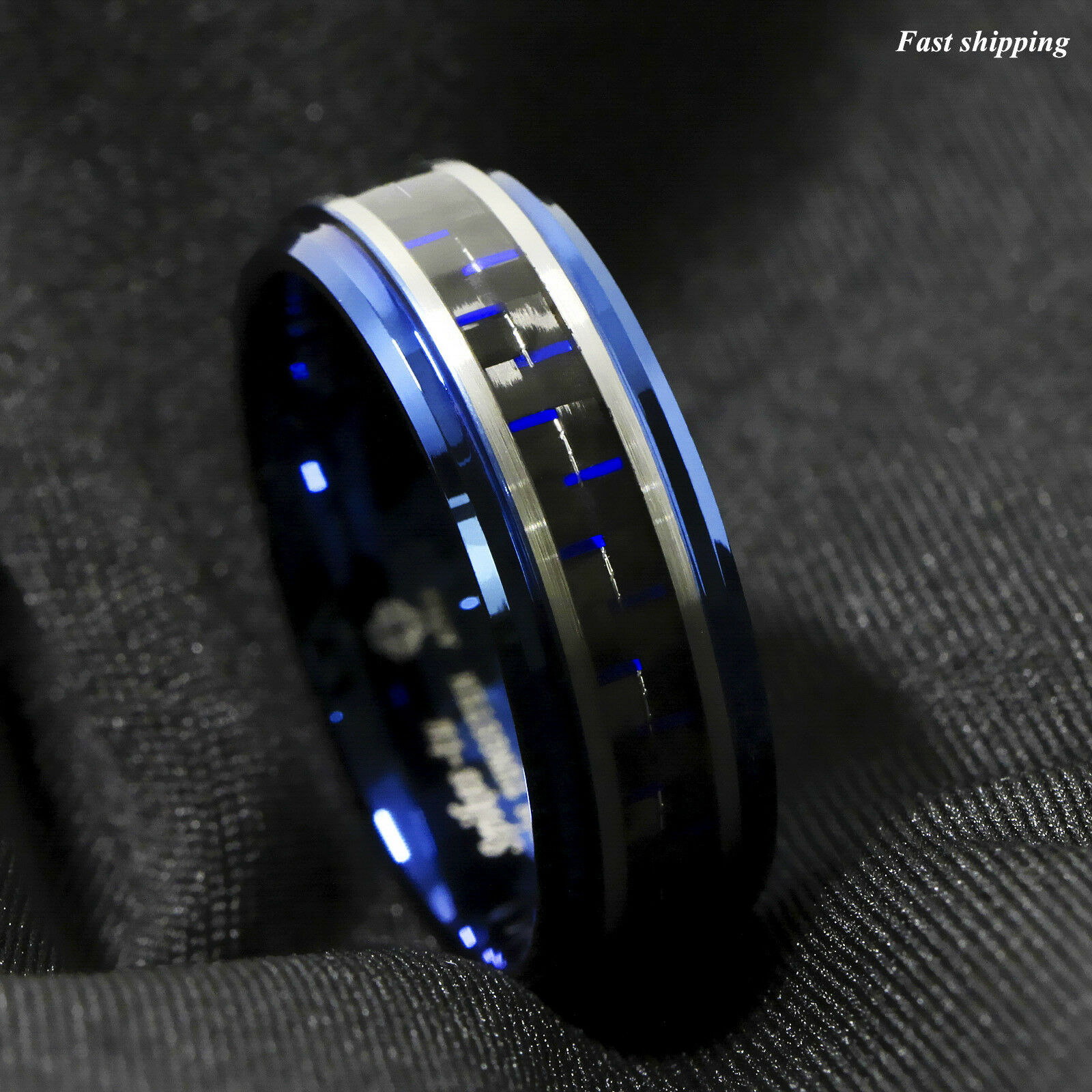 damascus rings insert forged grain steel wedding demascus products with ring wood fiber carbon interior