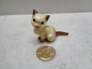 VINTAGE HAGEN RENAKER POTTERY MINIATURE SIAMESE KITTEN CAT FIGURINE