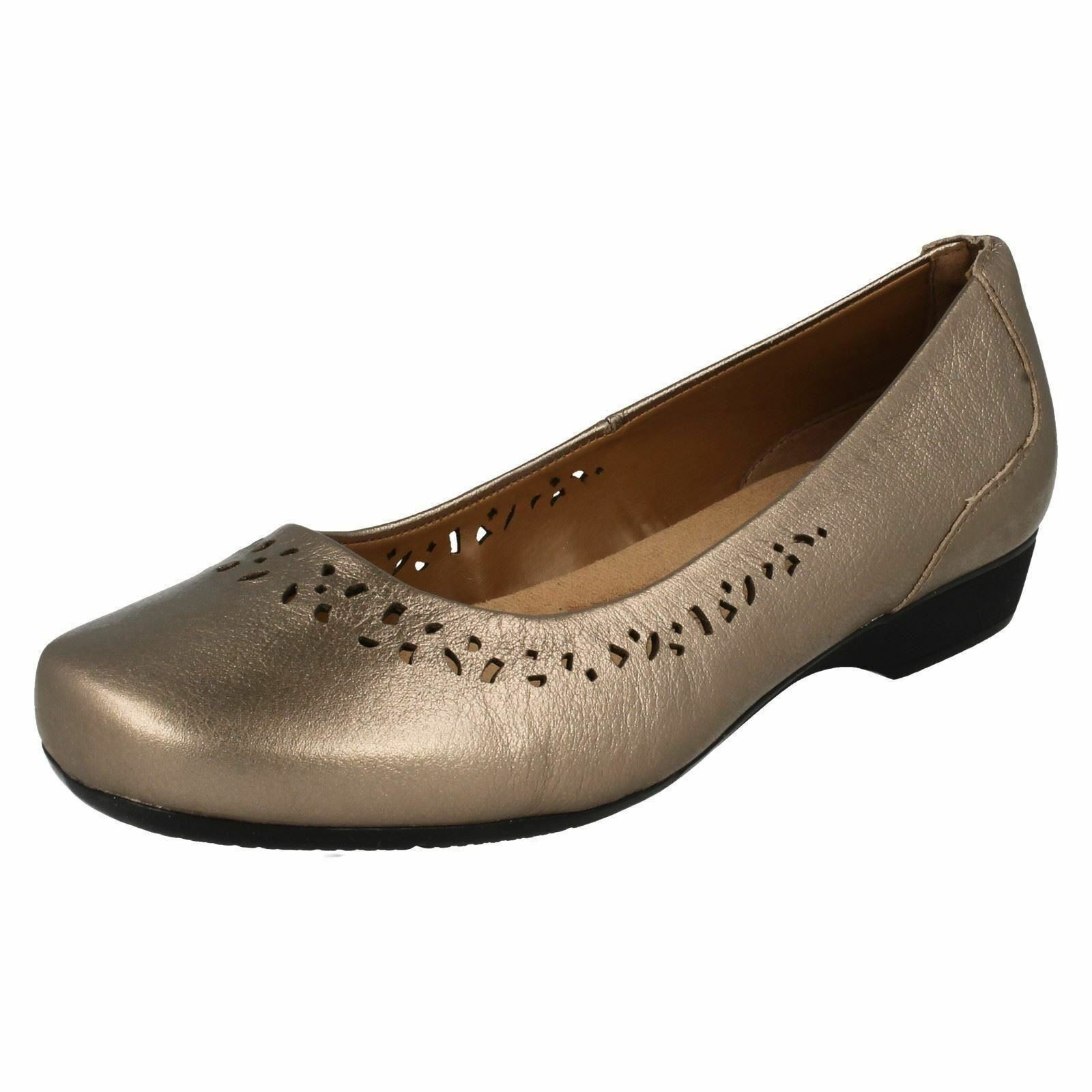 CLARKS LADIES GOLD METALLIC LEATHER GARRYN SLIP ON SHOE BLANCHE GARRYN LEATHER 5ec379