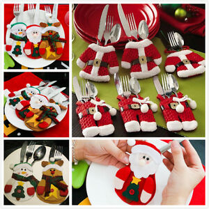 image is loading 6pcs christmas decorations happy santa silverware holders pockets - Christmas Silverware Holders