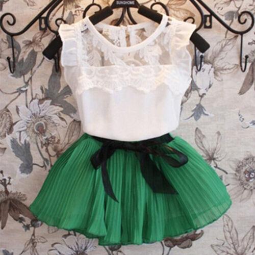Girls Cotton Chiffon Pull-On Skirt Dance Leotard Lace Tutu Dress Top Skirt Kit