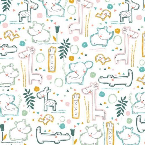 Sustancia METERWARE zoo animales blanco algodón niños patrón Design decorativas