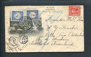 1905-geillustreerde-env-Monroe-USA-naar-Oosterbeek-beport-met-PORT-P-19-22