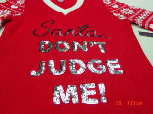 Details about  /NWT Junior Womens Women/'s Christmas Hooded Tunic Sweater Warm Red Sequins Santa