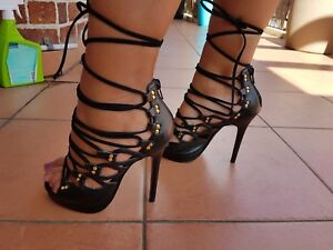 AS-NEW-PEEPTOE-Ladies-Black-Lace-Up-Peeptoe-High-Heels-Size-35