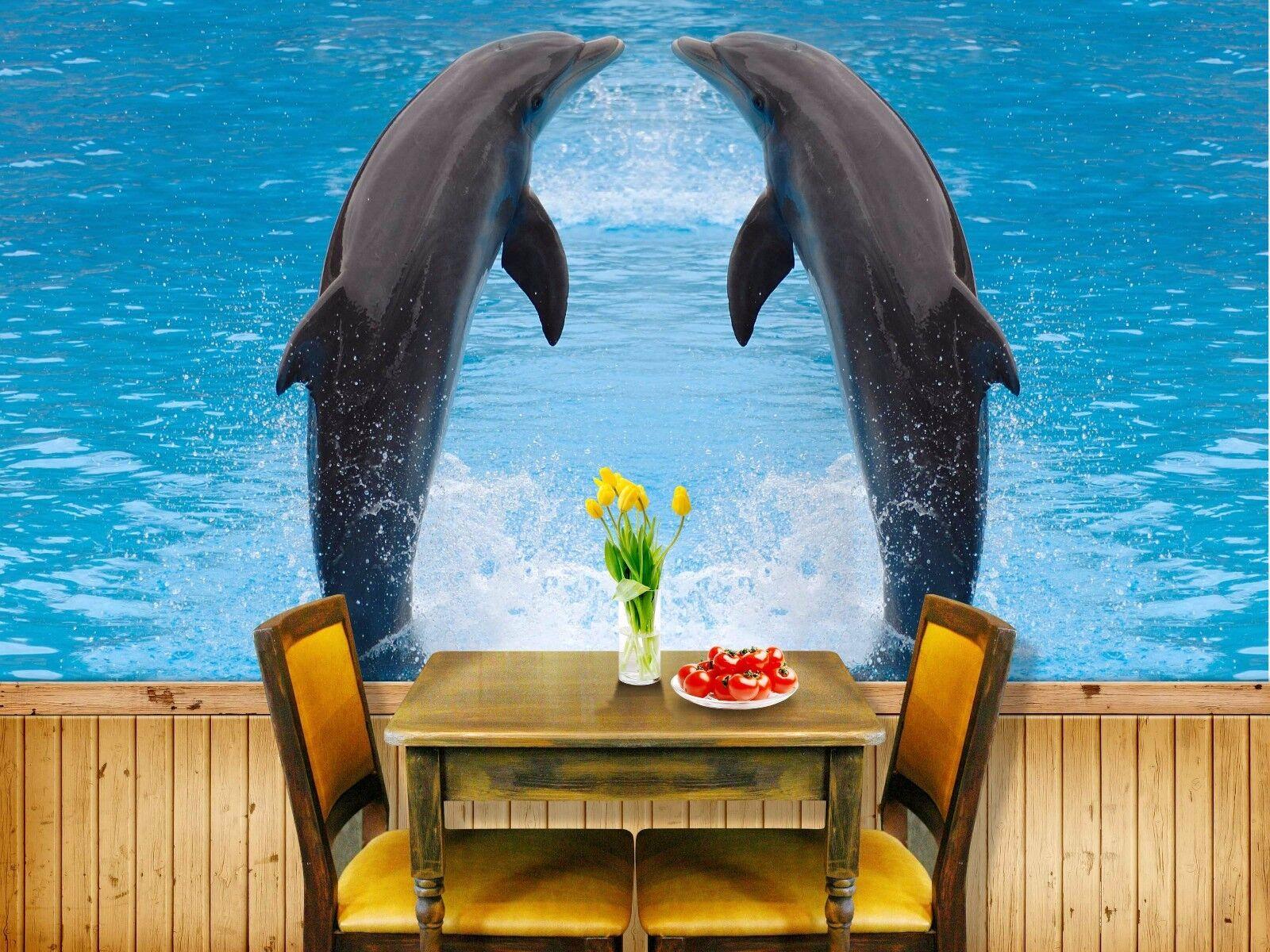 3D Zwei Delfine 742 Tapete Wandgemälde Tapete Tapeten Bild Familie DE Summer  | Kaufen  | Sonderpreis  | Schön In Der Farbe
