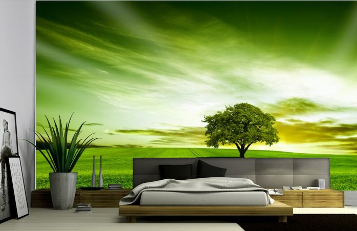 3D Grüne Himmel, Baum 84 Fototapeten Wandbild Fototapete BildTapete Familie DE