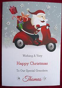 Personalised Handmade Christmas Card Boy Girl Santa Scooter Moped X515