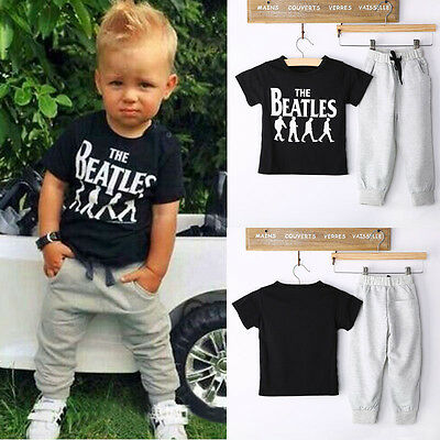 Outfits & Sets! 2PCS Kid Baby Boys Short sleeve T-shirt + Pants Clothes Fit 2-6Y