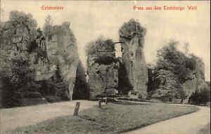 Teutoburger-Wald-alte-s-w-AK-1910-datiert-Partie-an-den-Externsteinen-ungelaufen