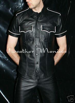 Pelle Pelle Uniform Camicia Shirt pelle con pieghe BIANCA STRISCE PROFILI