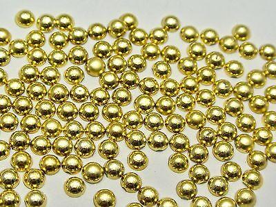 1000 Metallic Gold Flatback Round Half Pearl 4mm Scrapbook Nail Art Craft