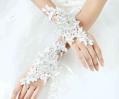 Bridal Wedding Party Fingerless White Lace Short Flower Rhinestone Gloves