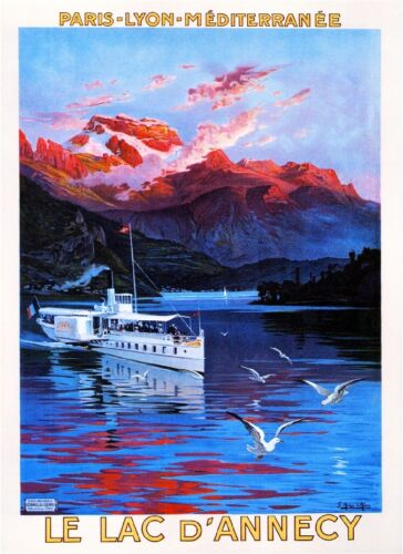 Le Lac d/' Annecy Lake Paris Lyon France French European Travel Poster