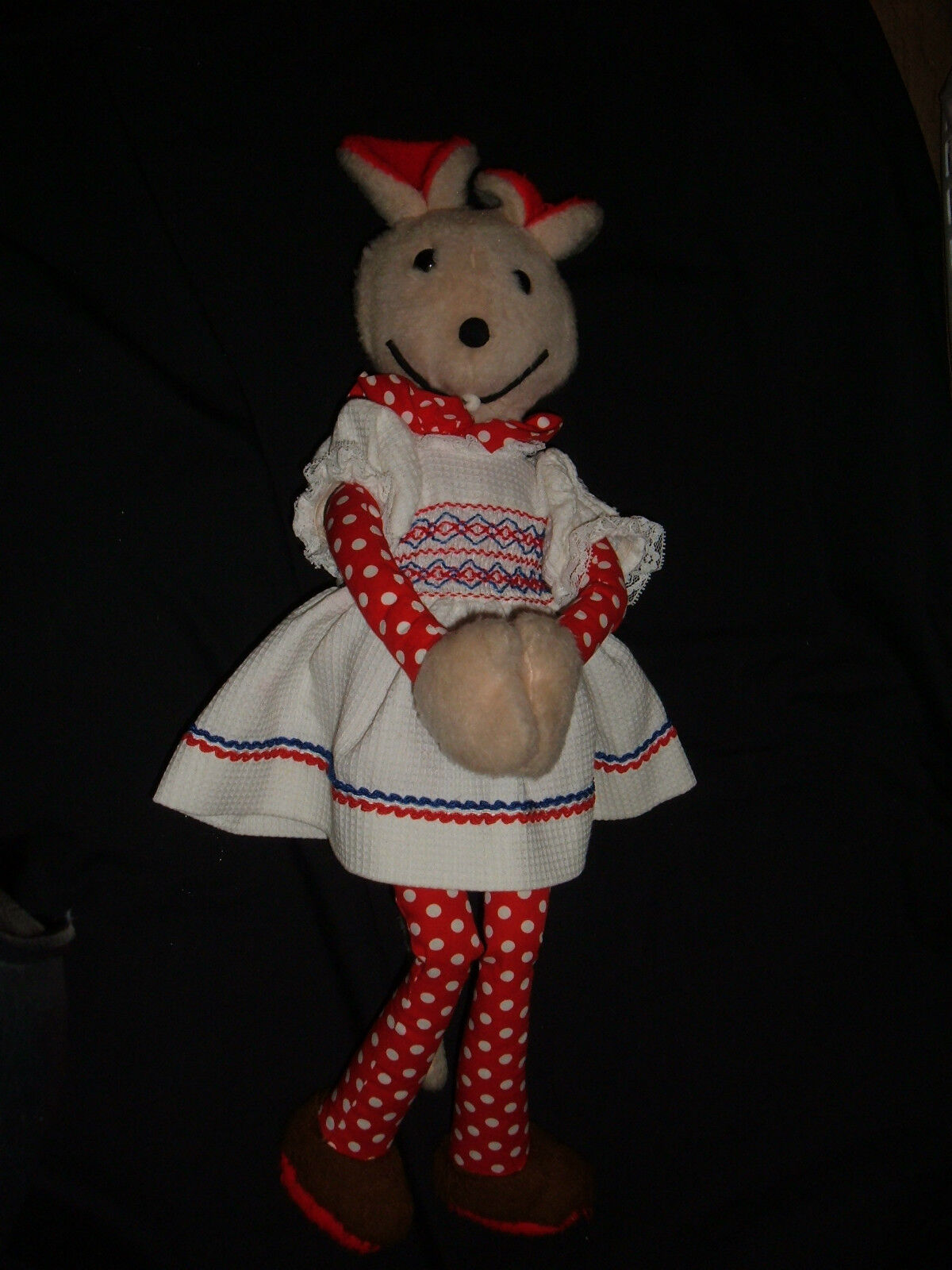 1975 Russ Berrie Plush Mouse Red w Polka Dots 21  Tall w Tooth Stuffed Animal