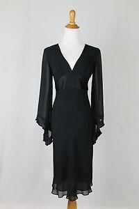 Vtg EXPRESS 1930's 40's Style Black 100% Silk Bias Cut Angel Sleeve Dress Midi 2