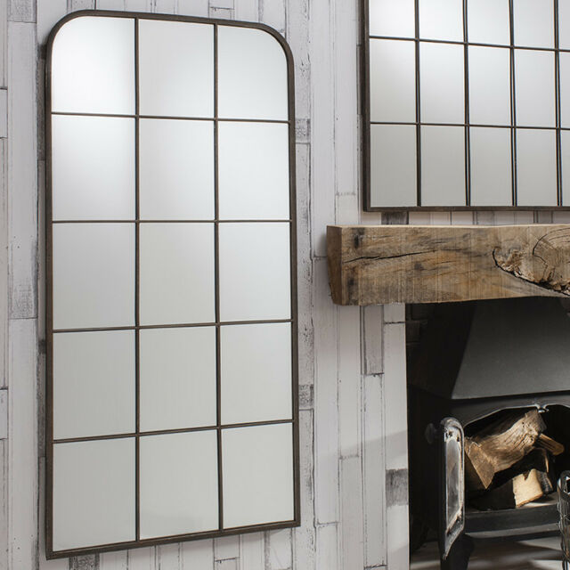 Rochester Large Urban Chic Metal Frame Rustic Wall Window Mirror 50 ...