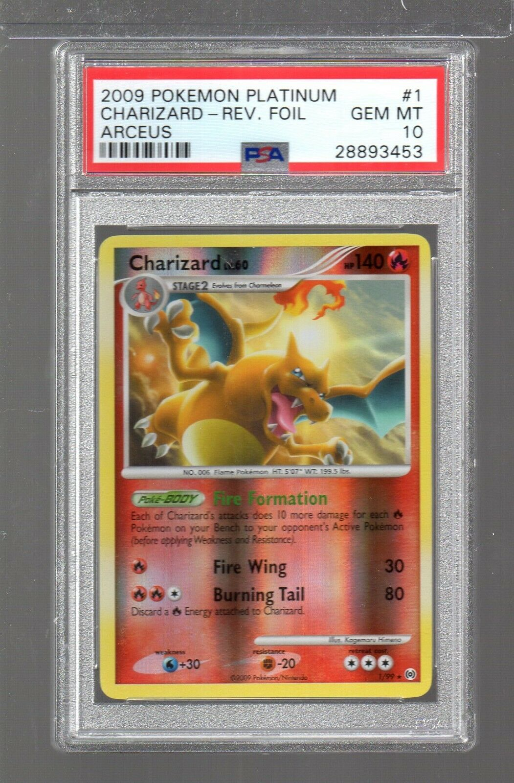 2009 Arceus  1 1 1 99 Charizard Reverse Holo Pokemon Platinum PSA 10 LOW POP 91aa3e