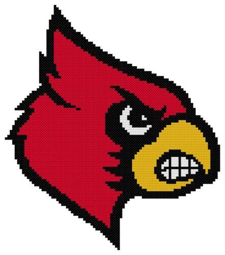 Counted Cross Stitch Pattern Louisville Cardinals Logo Free US Shipping
