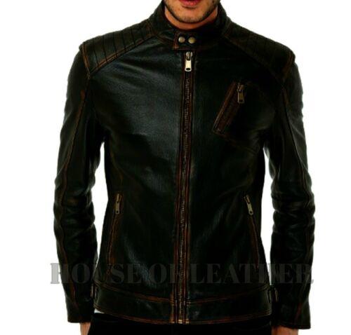 Men/'s Black Motorcycle Distressed Cafe Racer Biker Real Leather Jacket