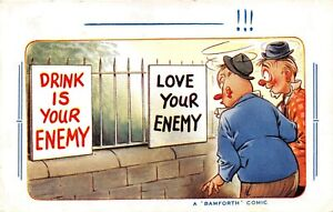POSTCARD-COMIC-DRINK-IS-YOUR-ENEMY-LOVE-YOUR-ENEMY-BAMFORTH