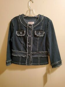 NWT-A-M-I-Stretch-Denim-Blue-Jean-Jacket-Small-Ladies-with-Fringe-Casual
