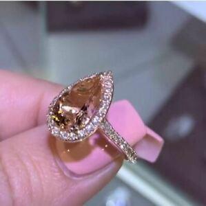 1-60Ct-Pear-Cut-Morganite-Diamond-Halo-Engagement-Ring-In-14K-White-Gold-Finish