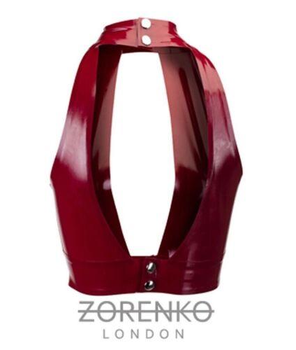 Zorenko Latex Rubber prune bordeaux plongeant Crop Top Taille XS 10 M Taille 8 S 12