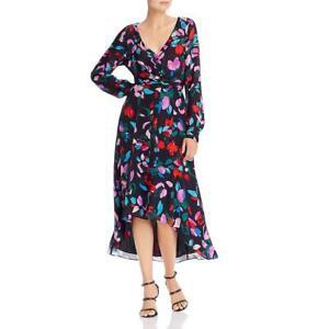 Parker Womens Cora Black Silk Blend Floral Print Midi Shirtdress 4 BHFO 7880