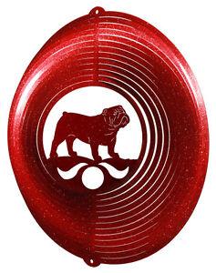 English Bulldog Dog RED Metal Swirly Sphere Wind Spinner *NEW*