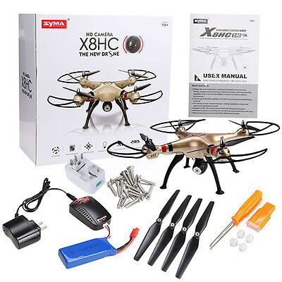 Syma X8HC RC Quadcopter 2.4GHz 4CH 6-Axis Gyro RTF 2MP HD Camera Drone UFO Gold