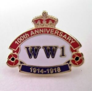 HELP FOR HEROES BADGE - WW1 Centenary Anniversary / First World War Heros Badges