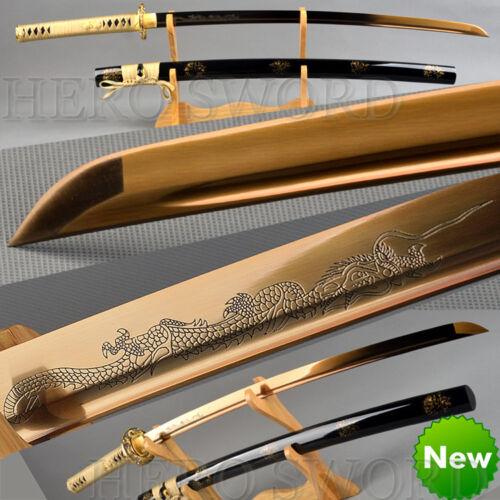 Traditional Handmade Gold Dragon Japanese Samurai sword High Carbon Steel Katana