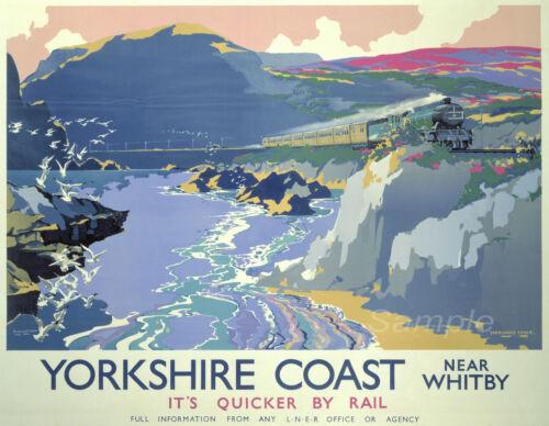 VINTAGE YORKSHIRE COAST WHITBY LNER RAILWAY A2 POSTER PRINT