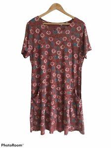 Fat Face Women's Simone Dress Size 16 Tunic Posy Vine Jersey Excellent Cond