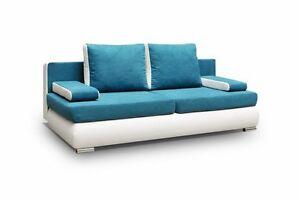 Details Zu Couch Mit Schlaffunktion Sofa Schlafsofa Blau Turkis Microfaser Madagaskar