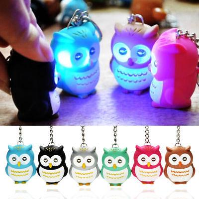 LED Cute Owl Keyring Luminous Voice Keychain Light Flashlight Key Chain Kids Toy
