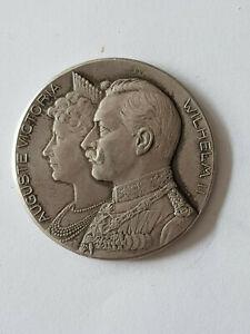 Argent Médaille 1906 Auguste Victoria Guillaume Ii Argenté Mariage 950er-afficher Le Titre D'origine Ni Trop Dur Ni Trop Mou
