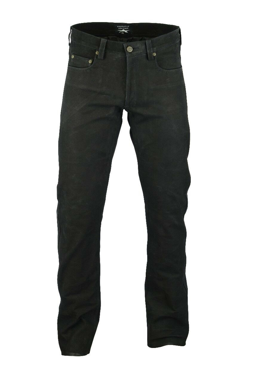 AWANSTAR-701 Lederhose Nubukhose black  leather Trousers Nubuk leder hose 34W