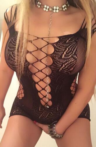 Netzkleid schwarz transparent Stretch Minikleid durchsichtig elastisch Netz Body